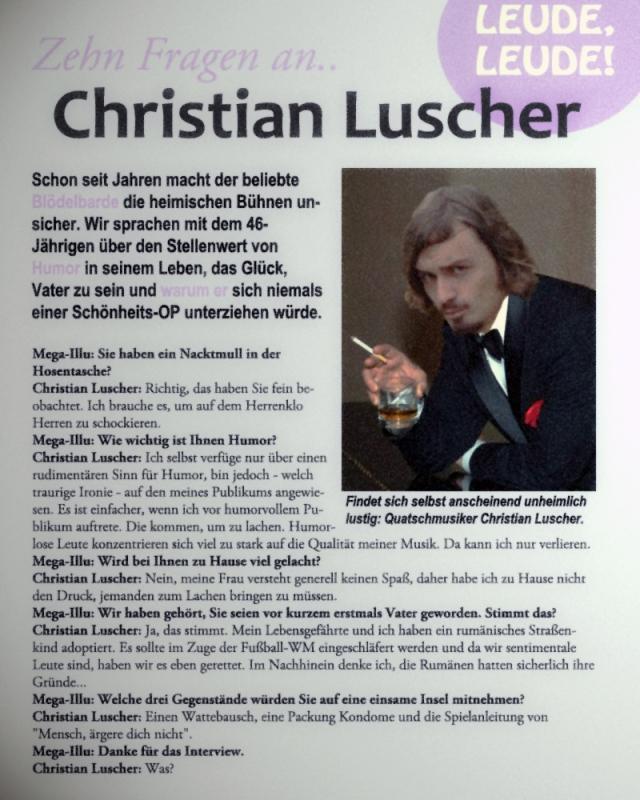 """""""Zehn Fragen an Christian Luscher"""", Mega-Illu 9/2012"""